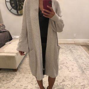 Heather Grey BCBGMAXAZRIA long bell sleeve sweater